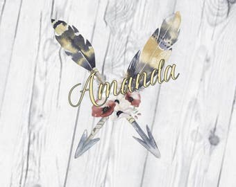 Feathers and Arrows Monogram, Feathers Decal, Vinyl Decal, Watercolor, Flower Decal, Tribal, Printed Decal, Glitter Name
