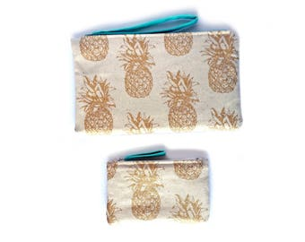 Tropical pineapple print clutch/purse and coin purse set