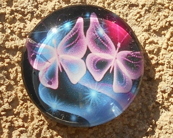 Glass cabochon 25 mm Butterfly