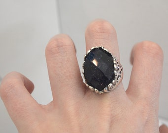 Sterling silver Ring Brenda, silver 925, fine jewelry, Onyx stone