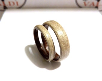 Wedding rings set. Ash wood, Ebony wood