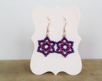 Purple and pink star earrings