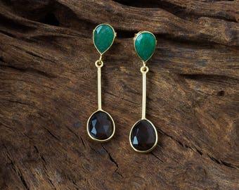 Chic Gold Vermeil Earrings/Dangle Earrings/Smoky Quartz & Aventurine/Gemstone Gold Vermeil/Sterling Silver/Drop Earrings/Handmade Jewelry