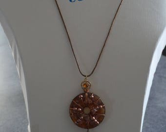 Necklace leather cord and glass beads