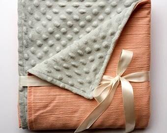 Coral baby blanket. Minky blanket. Nursery bedding. Grey Minky DotCrib bedding. Gender neutral baby blanket.