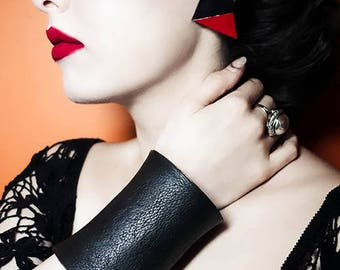Unique large black leather cuff, bangle