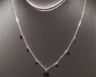 """Beautiful Vintage Sterling Silver 925 and Onyx Necklace 17"""""""