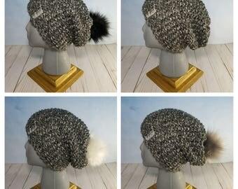 Hand Knit Slouchy Hat w/Faux Fur pom-pom