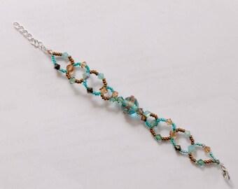Bracelet turquoise aventurine and Swarovski Crystal and openwork bronze adjustable lead and nickel free