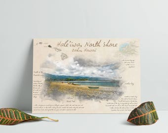 Hawaii Sketch Art - North Shore Oahu Print - Hale'iwa Print - Vintage Style Sketch Art