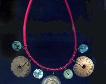 Ancient Mayan Spindle Whorl Necklace with Turquoise Discs on a Red Silken Cord