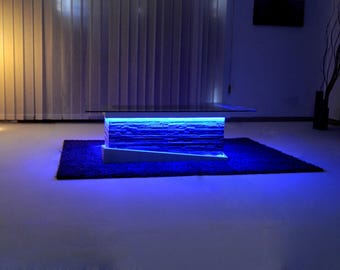 Modern-rustic Living room table-Design Unique-Made in Italy-Light Led
