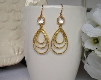 Gold Dangle Earrings, Bridesmaid Earrings, Wedding Earrings, Prom Earrings, Gift Idea