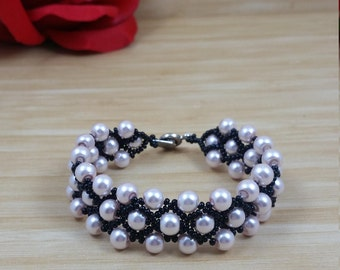 Light Pink Glass Pearl Beads with Black Seed Bead Bracelet, Weaving bracelet, Glass Seed Beads, with Snap Fastener Clasp