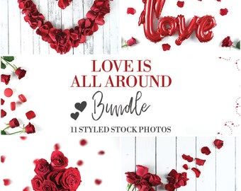 Love Is All Around Collection | Bundle | Valentine's Day | Styled Stock Photography | Red Roses | Petals | Digital Photography | Flatlay |