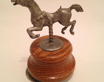 Pewter Carousel Horse Music Box