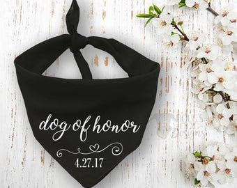 Black Wedding Dog of Honor Bandana with Custom Wedding Date