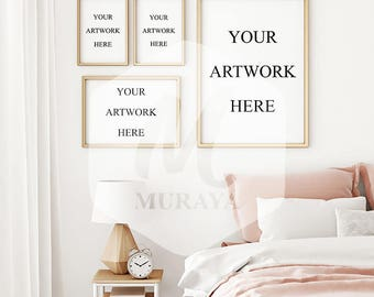 4 panel bedroom frames mock-up, mix & match frames mockup, scandinavian style bedroom interior frame mockup set. Gold frames set mockup