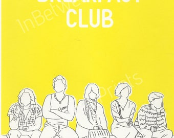 Breakfast Club Limited edition 80s screen printed poster A4 onto thick paper