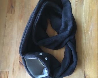 Sugar Glider Bonding Scarf Double Loop - Sugar Glider Bonding Pouch - Rat Bonding Pouch - Bonding Pouch - Black Fleece With Grey
