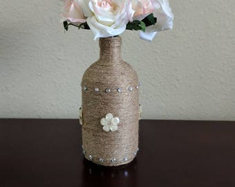 Decorative twine bottle with flowers, Home decor, Centerpiece, Wedding decor, Party decor, Birthday gift, Anniversary gift, Office decor