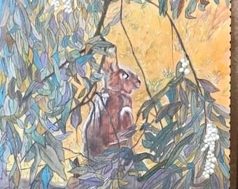 Original Painting,WaterColor,WallArt,Nature,Abstract,Colorful,Contemporary,Bunny,Tree ,Landscaoe,Wilderness,Fantasy,Artist:B.B.Soyland