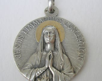 French Sterling Silver Religious Medal / The Immaculate Conception signed Lavrillier / Antique Pendant