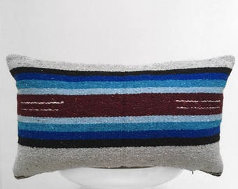 authentic Mexican handmade pillow cover gray navy rug textile decorative throw pillow bohemian boho cushion cover