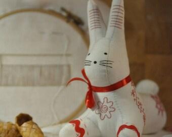 The Russian North Bunny, fabric toy, textile hare, stuffed animal, softie, folk art, Заяц Русского Севера, текстильная игрушка