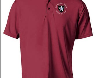 2nd Infantry Division Embroidered Moisture Wick Polo Shirt -3988