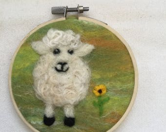 Needle felted sheep picture in an embroidery hoop frame