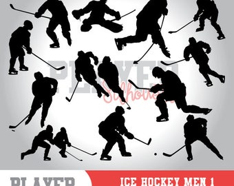 Ice Hockey Men SVG, Ice Hockey Sport svg, Ice Hockey digital clipart, athlete silhouette, Ice Hockey Men, cut file, design, A-036