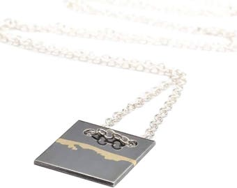 Square fine silver and 23k gold necklace