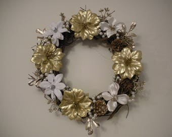Gold & White Floral Wreath