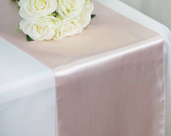 SALE FIVE Blush Satin Table Runners Light Pink Rose Wedding Table Setting Easter Sale Cloth Satin Wholesale Baby Shower Bridal Cheap Party