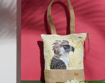 Eagle Handpainted Summer Tote Bag | Handmade from the Philippines