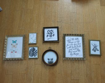 Pre-curated Gallery Wall with Antique Frames and Modern Prints