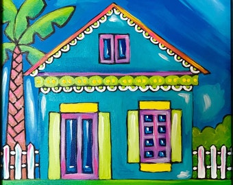 Caribbean Living, Original Acrylic Painting On Canvas. Caribbean House. Whimsical painting.