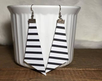 black and white striped leather dangle earrings