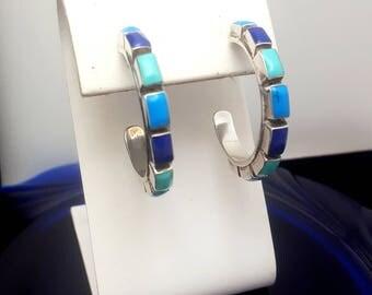 Vintage Sterling Silver Turquoise Hoop Earrings