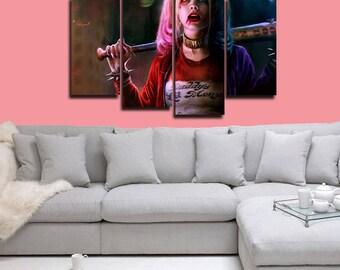 Harley Quinn Poster Harley Quinn Canvas Harley Quinn Print Decor Wall Art Large Print Multi Panel Home Decoration Birthday gift Canvas art