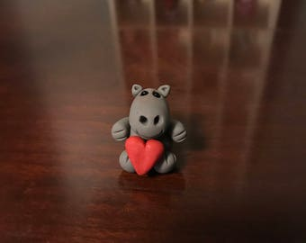 Miniature Valentine's Day Polymer Clay Hippo Figurine