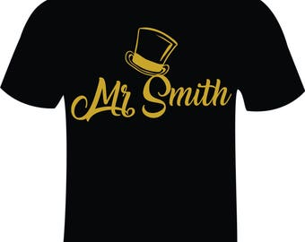 Pair of Mr and Mrs Personalised T-shirts