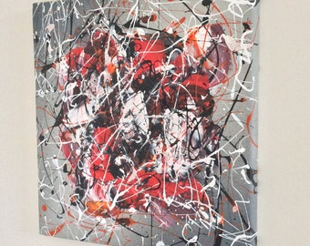 Small Original Abstract Painting acrylic on stretched canvas 30cm x 30cm x 25cm