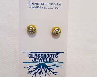 Yellow Rose Glass Bead Earrings