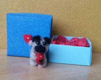 Needle Felted Pug with Heart Gift Box