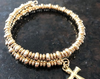 Gold Cross Charm Bracelet