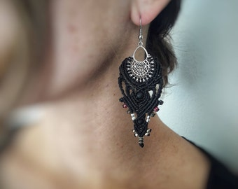Micro macrame, boho style, earrings, hippies, gipsy, chic ,silver ,by Chrysa's hands