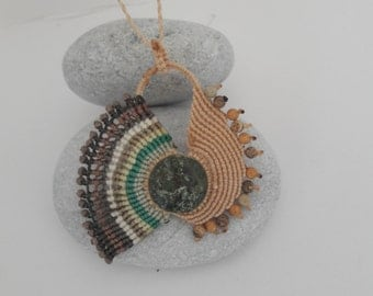 Special macrame necklace, boho ,bohochic pendant,with jade stone, by Chrysa's hands