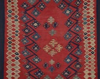 Antique Anatolian Turkish Sarkoy Kilim of Rare Small Size, Late 19th Century.